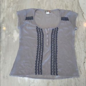 Dusty blue sheer top from Nordstrom's